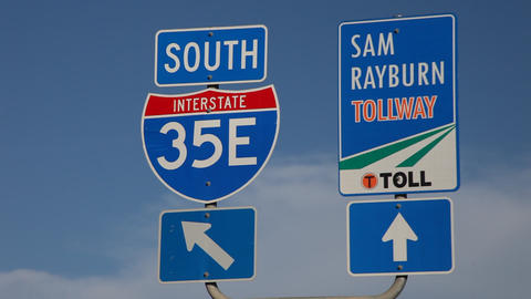 Highway 35 and Sam Rayburn Tollway signs Footage