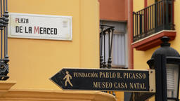 Sign with the name of square or street where was born and grew Picasso Footage