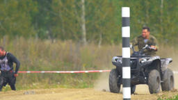 Russian army officer on quad bike Footage
