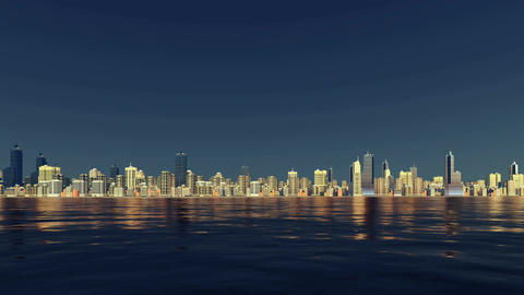 Abstract city skyline reflected in water 3D animation Footage