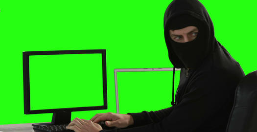 Computer hacker using computers Live Action