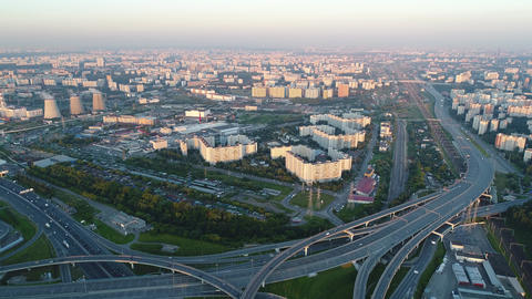 A modern flyover road junction in a large megapolis Live Action