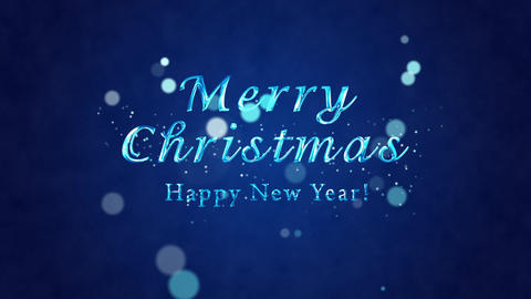 Congratulatory Christmas video card. Decorative ice title, confetti. Artistic intro (introductory Animation