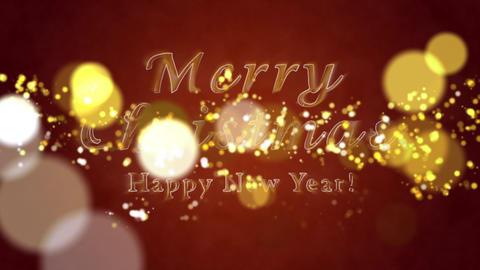 Congratulatory Christmas video card. Decorative golden title, confetti. Artistic intro (introductory Animation