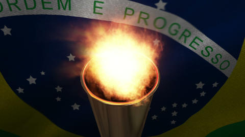 Animation of Olympic torch being torched Live Action