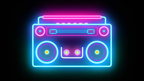 Abstract neon Retro Boombox Music Tape Recorder Radio Old Vintage cassette Animation