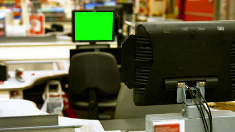 Billing machine and credit card terminal at cash counter Live Action
