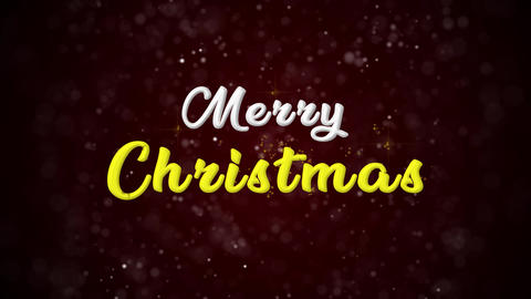 Merry Christmas Colorful text appears on shiny bokeh background and glitter particles Animation