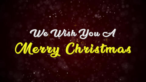 We wish you a merry christmas Colorful text appears on shiny bokeh background Animation