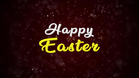 Happy Easter Colorful text appears on shiny bokeh background and glitter Animation