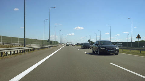 Driving Car on Highway Subway Autostrada Traffic Footage