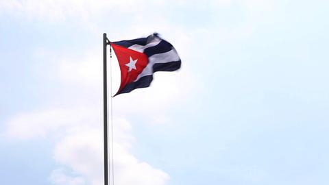 National flag of Cuba on a flagpole Footage