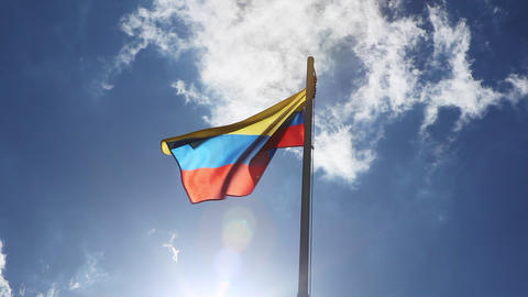 Textile flag of Colombia on a flagpole Footage