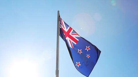 Flag of New Zealand on a flagpole Footage