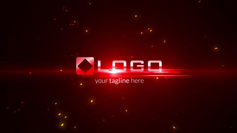 Red Fire Light Streak Particles Explosion Business Logo Reveal Dark Intro After Effects Template