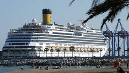 Cruise ship about to leave docked in the port Footage