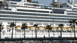 Side large boat cruise ship docked in port Footage