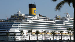 Big ship cruise ship docked in port Footage