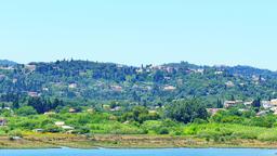 Corfu Kerkira 4k video. Mountain hills village, lake, river landscape Footage