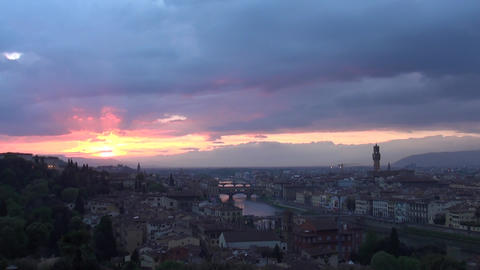 Sunset view in Florence, Italy Footage
