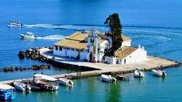 Vlacherna Monastery Kanoni, harbor boat station pier. 4k video Greece Corfu Footage