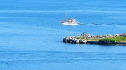 Passenger motor boat ship sailing water 4k video. Blue sea ocean lake river Footage