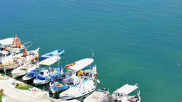 Motor boats moored dock boat station pier. Greece Corfu marina harbor 4k video Footage
