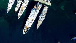 Marina pier harbor yachts boat ship 4k video. Sea ocean cargo transport Footage