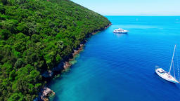 Tropical Ionian Greece Blue Lagoon island 4k video. Ocean sea coast yacht boat Footage