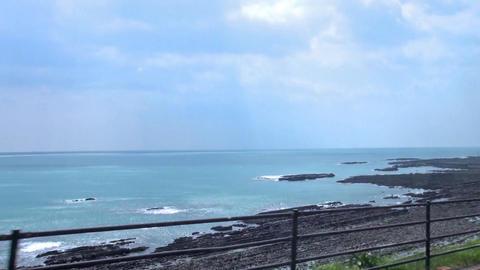 Driving Nichinan Coast.View of straight rows of basalt rock Onino Sentakuita (de Footage