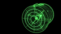 Rotation Fan Turbine in Hologram Wireframe Style. Nice 3D Rendering Animation