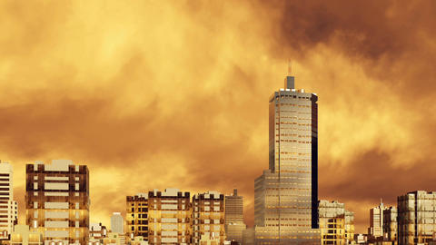High rise buildings and sunset cloudy sky 3D animation Footage