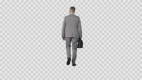 Business man in gray suit walking from the camera. Transparent background Live Action