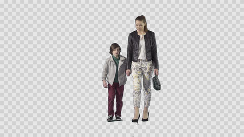 Young mother & son are going at the camera. Footage with alpha channel Live Action