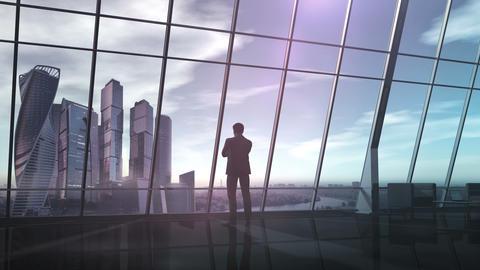 Businessman in office overlooking a business center 애니메이션