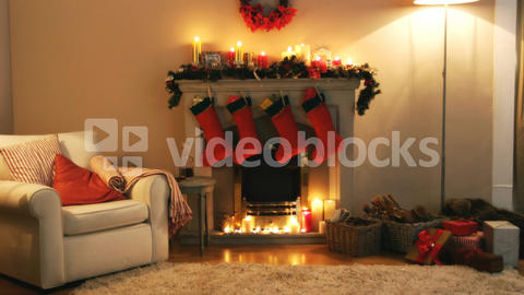 Fireplace decorate with christmas decor and ornaments Live Action
