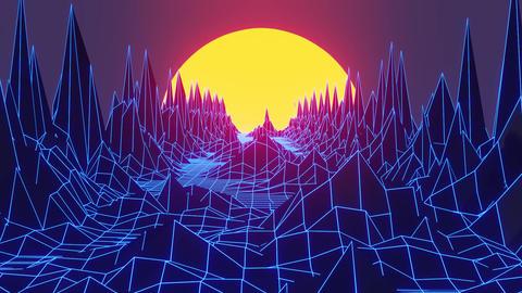 Blue Retrowave themed 80s style animation background Animation