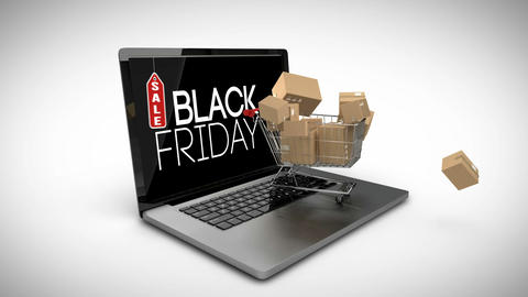 Trolley with boxes on laptop displaying black Friday sale sign Live Action