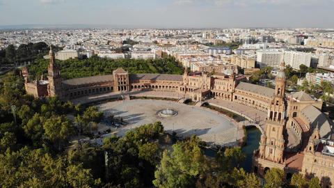 Aerial View Of Plaza De Espana in Seville Spain Live Action