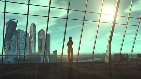 Business woman in office overlooking a business center Animation