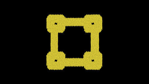 Symbol square is knitted from a woolen thread. Knit like a sweater Animation