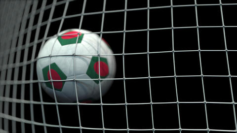Ball with flags of Bangladesh hits goal. 3D animation Live Action
