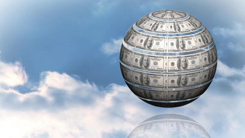 Rotating globe with dollar bills Animation