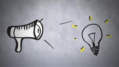 Megaphone and light bulb Animation