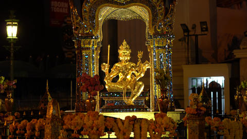 Bangkok,Thailand-December 8, 2019: Hindu God Brahma Statue before the dawn in Bangkok Live Action