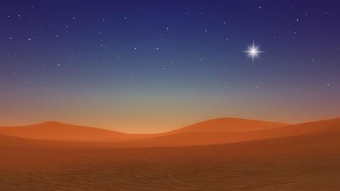 Christmas star over Bethlehem hills desert at evening Live Action