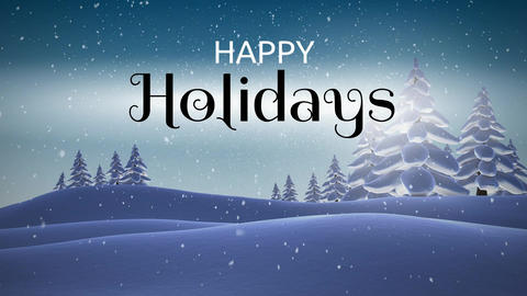 Happy Holidays text and snowfall during winter 4k Animation