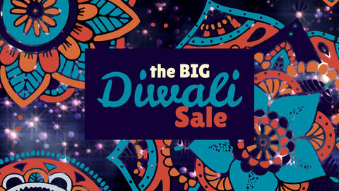 Diwali sale sign against floral pattern and illuminated background 4k Animation