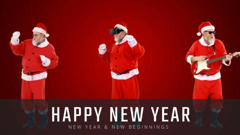 Santa clause doing various activities and Happy New Year Text 4k Animation
