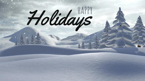 Happy holiday against snowfall and tree 4k Animation